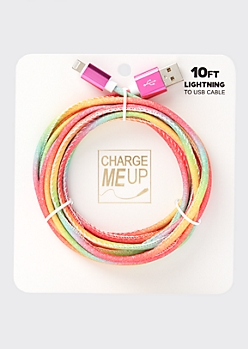 10-Foot Pastel Rainbow Glitter Lightning To USB Cable