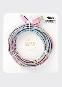 10-Foot Rainbow Glitter Lightning To USB Cable
