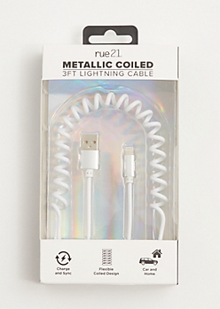 White Metallic Coiled USB Phone Charger
