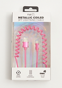 Pink Metallic Coiled USB Phone Charger