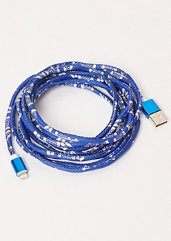 10-Foot Blue Speckled Print Lightning To USB Cable
