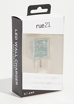 Clear LED Dual Port Wall Charger