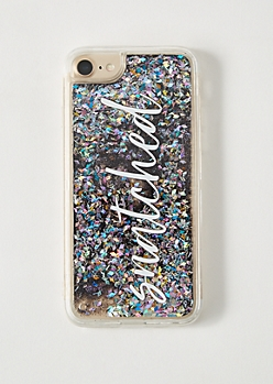 Silver Floating Glitter Snatched Clear Phone Case For iPhone 6/6s/7/8