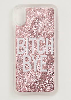Pink Bye Floating Glitter Phone Case For iPhone X/Xs