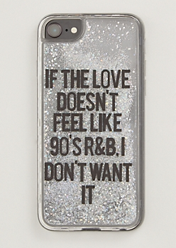 Silver R&B Floating Glitter Phone Case For iPhone 6/6s/7/8