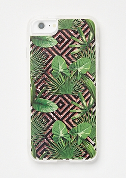 Tropical Print Floating Glitter Phone Case For iPhone 6/6s/7/8