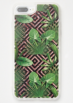 Tropical Print Floating Glitter Phone Case For iPhone 6/7/8 Plus
