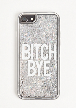Silver Bye Floating Glitter Phone Case For iPhone 6/6s/7/8