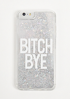 Silver Bye Floating Glitter Phone Case For iPhone 6/7/8 Plus