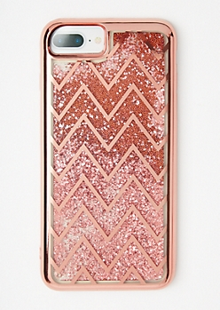 Rose Gold Chevron Striped Glitter Phone Case For iPhone 6/7/8 Plus