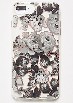 Black Floral Print Clear Phone Case For iPhone 6/7/8 Plus