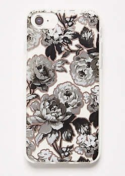 Black Floral Print Clear Phone Case For iPhone 6/6s/7/8