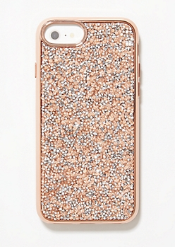 Rose Gold Rhinestone Back Phone Case for iPhones 6/6s/7/8