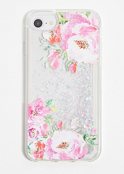 Floral Print Iridescent Glitter Phone Case for iPhone 6/6s/7/8