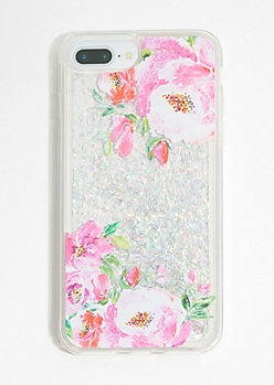 Floral Print Iridescent Glitter Phone Case for iPhone 6/7/8 Plus