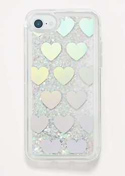 Silver Hearts Floating Glitter Phone Case for iPhone 6/6s/7/8