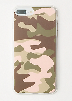 Pink Camo Print Clear Phone Case for iPhone 6/7/8 Plus