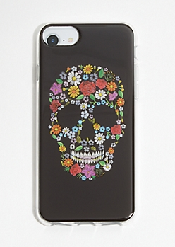 Black Floral Print Skull Phone Case for iPhone 6/6s/7/8