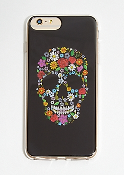 Black Floral Print Skull Phone Case for iPhone 6/7/8 Plus