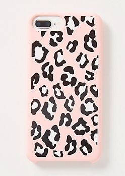 Pink Leopard Print Silicone Phone Case For iPhone 6/7/8 Plus