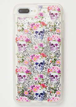 Silver Floating Glitter Flower Skull Phone Case For iPhone 6/7/8 Plus