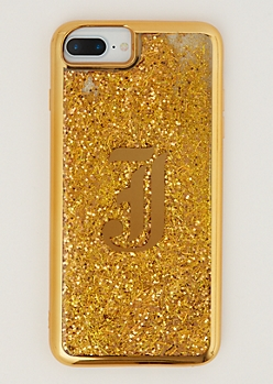 J Gold Glitter Case for iPhone 7/6 Plus