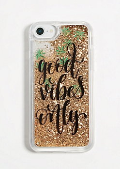 Good Vibes Only Weed Glitter Phone Case for iPhone 6/6s/7/8