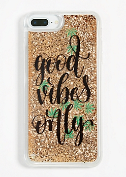 Good Vibes Only Weed Glitter Phone Case for iPhone 6/6s/7/8 Plus