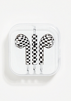 Checkerboard Print Earbuds