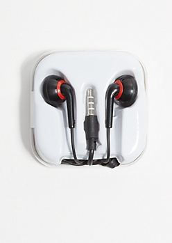 Black and Red Earbuds