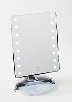 White Marbled LED Light Up Mirror
