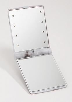 Marble Print LED Compact Vanity Mirror