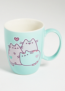 Mint Green Pusheen Cat Trio Ceramic Mug