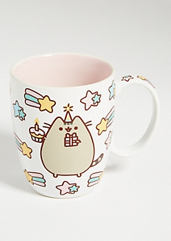Peach Pusheen Dotted Cat Ceramic Mug