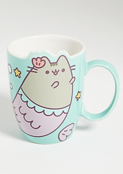 Mint Green Pusheen Mermaid Cat Ceramic Mug
