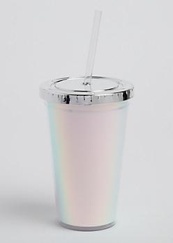 Silver Iridescent Inset Tumbler
