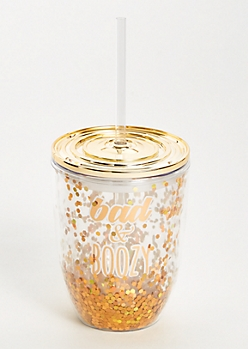 Gold Glitter Bad And Boozy Wine Tumbler