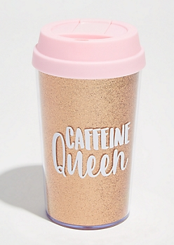 Rose Gold Caffeinated Queen Glitter Travel Tumbler
