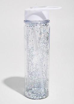 Silver Glitter Sports Water Bottle