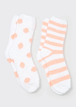 2-Pack Blush Dot Plush Cozy Socks