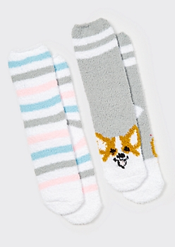 2-Pack Corgi Plush Cozy Socks