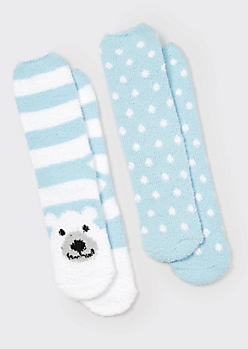 2-Pack Polar Bear Plush Cozy Socks