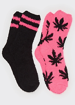 2-Pack Weed Leaf Cozy Socks