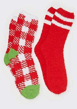2-Pack Christmas Plaid Cozy Socks