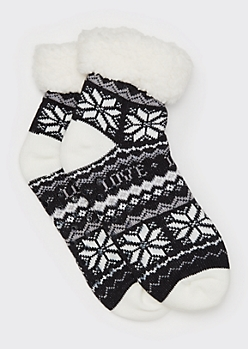 Black Fair Ilse Print Shepa Lined Socks