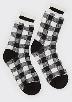 Black Buffalo Plaid No Slip Cozy Socks