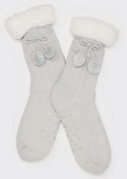 Gray Pom Pom Shepa Lined No Slip Socks