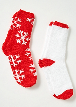 2-Pack Red Snowflake Plush Cozy Sock Set