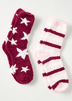 2-Pack Purple Stars and Striped Plush Cozy Sock Set