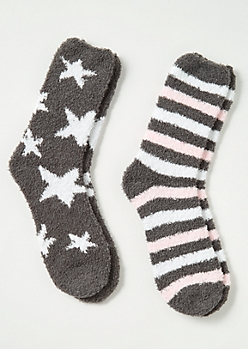 2-Pack Gray Stars and Stripes Plush Cozy Sock Set